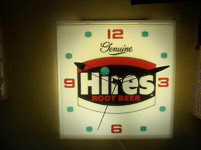 GENUINE HIRES ROOT BEER LIGHT WALL CLOCK 15 x 15 x 4 1/2 inches