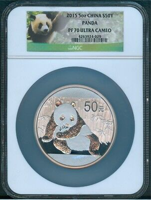 2015 Silver Panda, 5 Oz. 999 NGC Proof 70 Ultra Cameo w/Box & Certificate