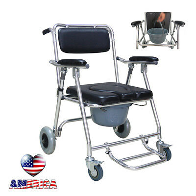 【USA】Aluminum Commode Wheelchair Bedside Toilet &Shower Chair Home Rolling Chair