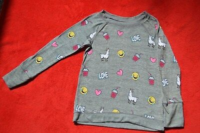 Justice Girls Top Long Sleeve Gray With Happy Faces Lama And Hearts Size 10