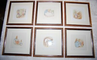 Six Framed / Matted Beatrix Potter Signed / Numbered Etchings of Rabbit Family