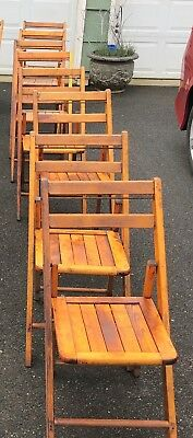 4 Vintage Wooden Slat Back Folding Chairs - More Available, Wedding, Church Seat