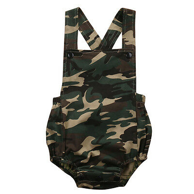 Camouflage Jumpsuit Toddler Baby Girls Boys Kids Romper Outfits 0-18 Months