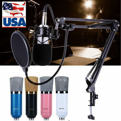 ❤BM700 Studio Broadcasting Condenser Microphone+Shock Mount+Arm Stand+Pop Filter