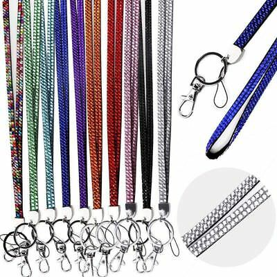 Neck Crystal Rhinestone Lanyard Bling ID Card Badge Keyring Key Phone Holder NEW
