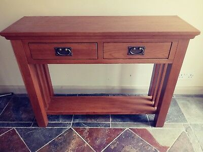 Oak 2 Drawer Solid Wood and Veneer Console Hall Side Table