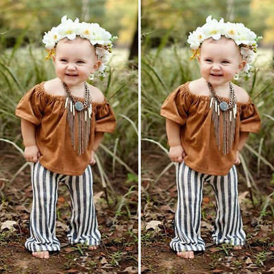 Fashion Toddler Kids Girl Off Shoulder Tops Stripe Pants Summer Outfits Set 1-6Y