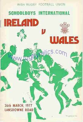 IRELAND v WALES 1977 SCHOOLS SENIOR UNDER 19 RUGBY PROGRAMME in DUBLIN