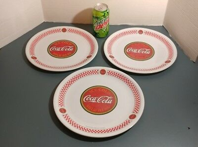 lot of 3 10 1/2 in gibson plastic Coca-Cola plates