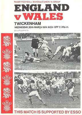 ENGLAND v WALES SCHOOLS 20 March 1974 UNDER 16 RUGBY PROGRAMME at TWICKENHAM