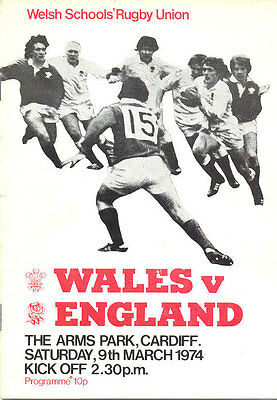 WALES v ENGLAND 9 March 1974 SCHOOLS UNDER 16 RUGBY PROGRAMME at CARDIFF