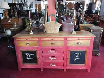 French Antique Style Painted Kitchen Dresser Preparation Table