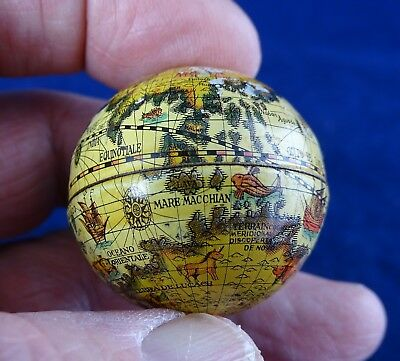 Lovely Antique/Vintage Miniature Metal Globe 1.4 Inch Diameter, Italian Made