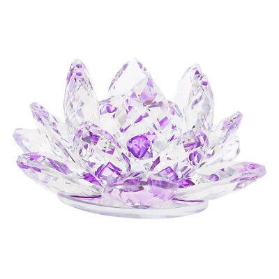 Crystal Lotus Flowers Crafts Paperweights Buddhist Feng Shui Ornament Purple