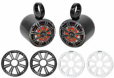 "Pair KICKER 45KM654L 6.5"" 390w Black Marine Wakeboard Tower LED Boat Speakers"