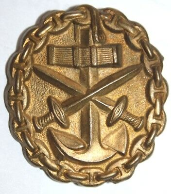 """WWI German Naval Wound Badge in Gold """"Assman"""" Post War Re-Issue"""