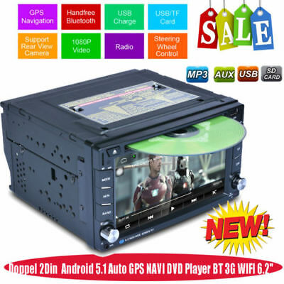 """6.2"""" 2 DIN Touch AUX 3G WIFI Autoradio GPS Navigatore Camera Android 6.0 RDS DVD"""