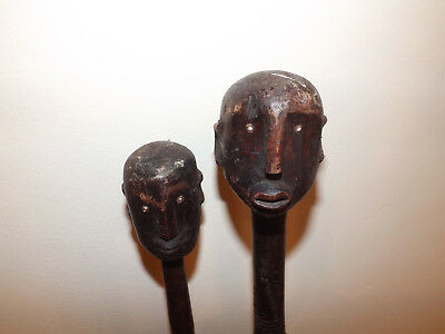 Late 19th Early 20th Century Pair Of Nyamwezi Tribal Ceremonial Staff Figures