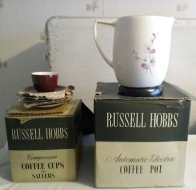 Russell Hobbs Vintage Retro Automatic Coffee Maker Percolater And Cups Unused