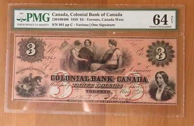 1859 $3 COLONIAL BANK OF CANADA TORONTO BANKNOTE PMG 64 Choice Uncirculated