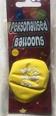 BNIP New Pack of 6 Different Colour Personalised Balloons - Grandma