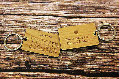Personalised Calendar Date & Message Double-sided Keyrings Love Anniversary !