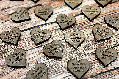 Personalised Table Decorations for weddings – Walnut/Darkwood Hearts