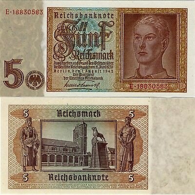 1942 Nazi German 5 Reichsmarks Bank Note-Hitler Youth -UNC Cond. 18-207