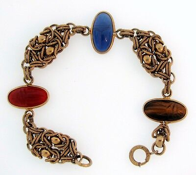 UNIQUE Vintage Tiger's Eye Blue Onyx Carnelian SCARAB Gold-tone Bracelet 7.5""