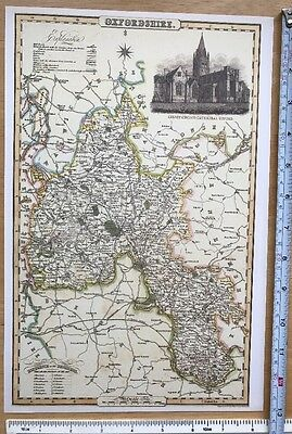Old Victorian Colour Map Oxfordshire: 1840 Pigot: Historical, Antique: Reprint