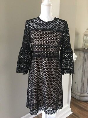 1043d3d8b53 NWT J.CREW BLACK Bell-sleeve daisylace dress Size 8 G7801  188 ...