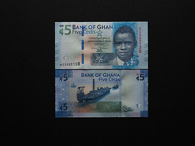 Ghana Banknotes 5 Cedis Stylish Commemorative Issue  -  Quality note   MINT UNC