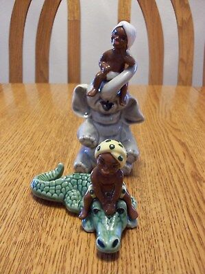 Lot Vtg Ceramic Arts Studio BOY ON ELEPHANT & CROCODILE Salt And Pepper Shakers