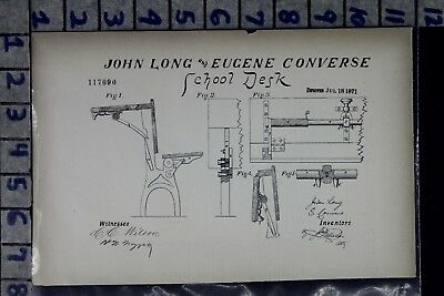 1871 Long Convers Oswego Ny Education School Desk Chair Patent Litho 117090