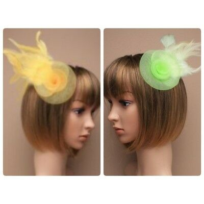 Swirl and feather fascinator hair clip, Weddings, Races, Prom in green or yellow