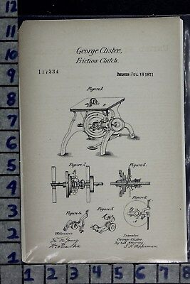 1871 Clisbee Marlborough Ma Machine Engine Clutch Industry Patent Litho 117234