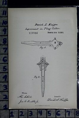 1871 Kniffen West Camden Ny Plug Cutter Woodworker Carriage Patent Litho 117786