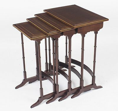 Antique Edwardian Mahogany Quartetto Nest of 4 Tables c.1910