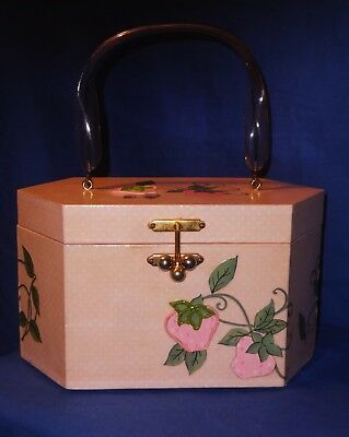 Original 1950's Swing Jive era Pink Lacquered Wooden Box Bag~Mint Condition.