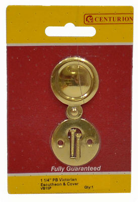 "Solid Brass Escutcheon With Swinging Keyhole Cover 1 1/4"" Brass Fixings Included"
