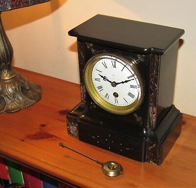 Delightful French Late Victorian Marble/Slate Mantle Clock. Very Good Condition