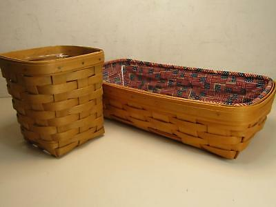 Lot of 2 Longaberger Handwoven Wooden Baskets Bread Bundled W/ Inserts