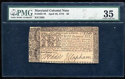 Md-70 April 10, 1774 $8 Maryland Colonial Note Pmg Choice Very Fine-35