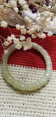 Vintage Chinese Green Stone with  Carved Bamboo pattern around Bangle Bracelet