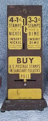 Vintage 3 cent 3¢ & 1 cent 1¢ stamp machine. Nickel and dime U.S Postage stamps