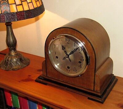 Enfield Royal Westminster Chiming Mantle Clock In Art Deco Walnut Case