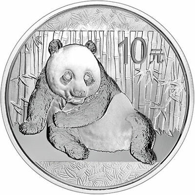 2015 China Silver Panda One Troy Ounce 1ozt 999 Gov't Issued BU Bullion in cap