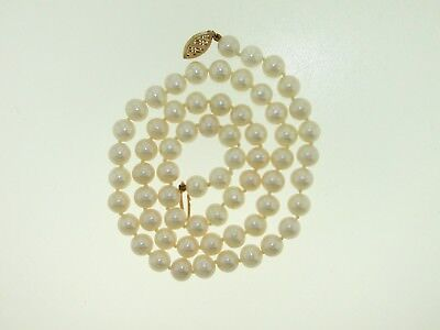 Gorgeous 14Kt Yellow Gold 7 Mm Pearl Individually Knotted 18-Inch Necklace