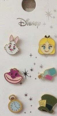 PRIMARK DISNEY Alice In Wonderland 6 METAL PIN BADGE SET - Brand New