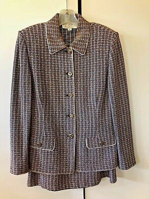 ST. JOHN COLLECTION Marie Gray Women's Knit Suit Jacket Sz 8 Skirt Sz 14 (5085)